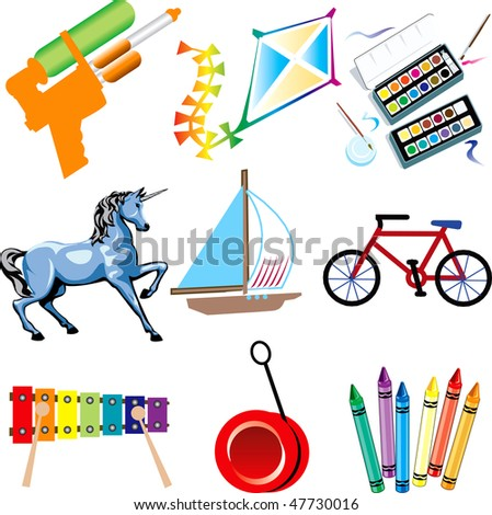 Vector Illustration of Toy Icons Isolated. - stock vector