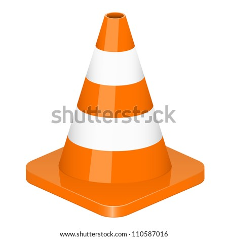 Vector illustration of traffic cone - stock vector