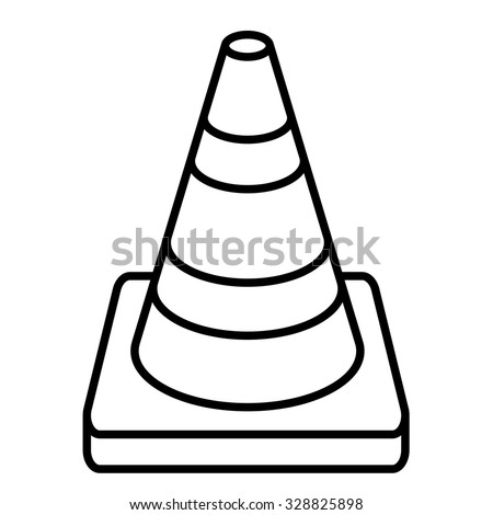 Vector Illustration Of Traffic Cone Black And White Icon