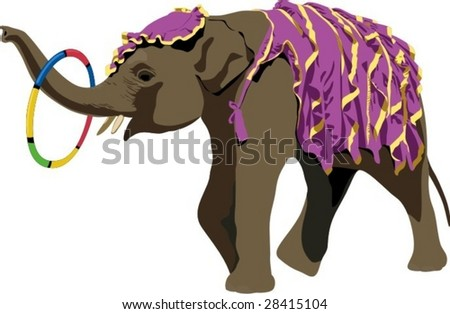 Vector illustration of trained elephant with ring