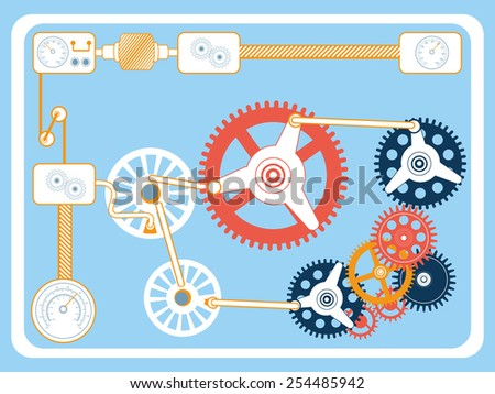 Vector illustration of transmission gears in flat design style. - stock vector