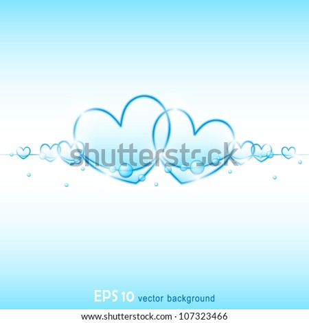 vector illustration of transparent air valentine heart bubbles floating on blue water background - stock vector