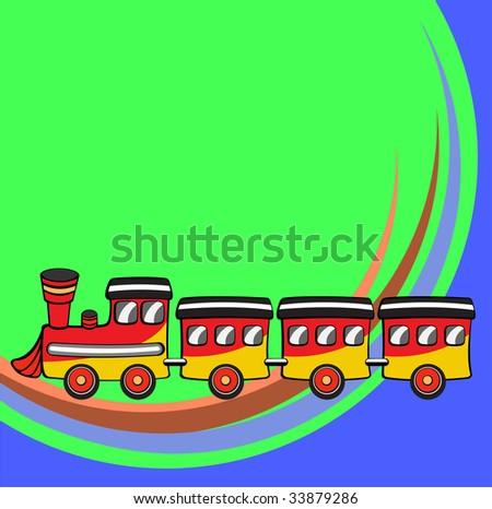 Vector illustration of Transport Cartoon. Little funny train - stock vector