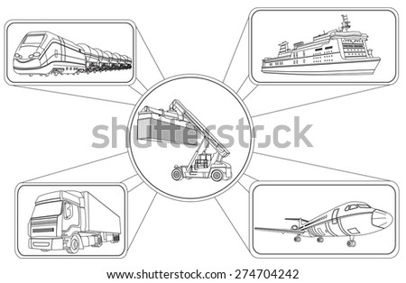 Vector illustration of Transport concept, loading of containers and transportation - stock vector