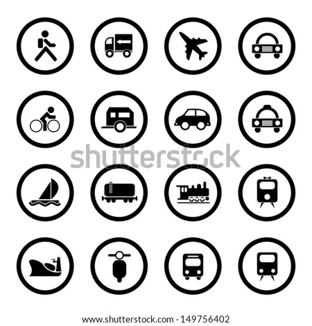 Vector illustration of transportation and traveling icons. - stock vector