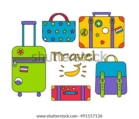 Vector illustration of travel bags. Colorful outline illustration