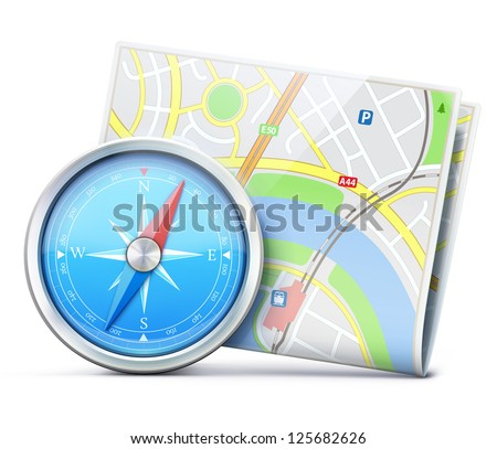 Vector illustration of travel concept with detailed blue compass and city map - stock vector