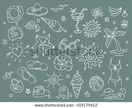 Vector illustration of Travel doodles set - stock vector