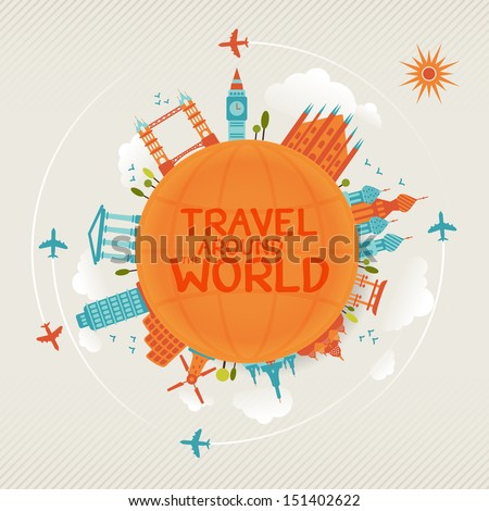 vector illustration of travel famous monuments around world with plane, sun and clouds.  - stock vector