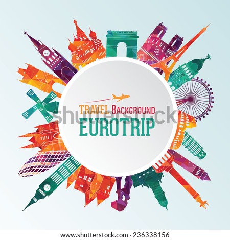 Vector illustration of travel famous monuments of Europe - stock vector