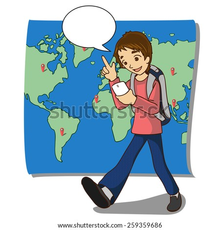 vector illustration of traveler using smart-phone in travelings with empty balloon text area - stock vector
