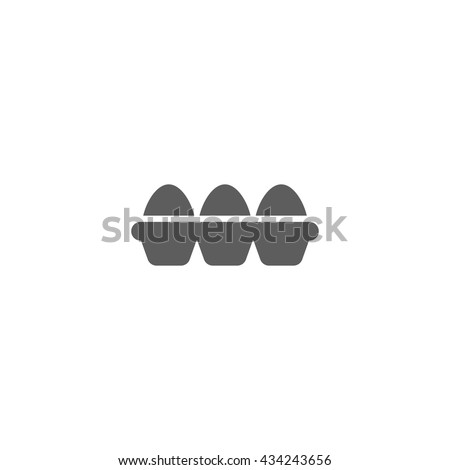 Vector illustration of tray of eggs icon on white background - stock vector
