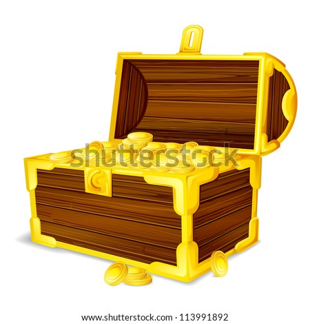 vector illustration of treasure chest full of gold coin - stock vector