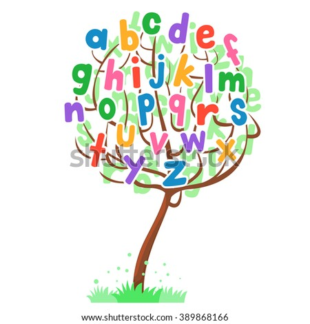 Vector Illustration of Tree Alphabet Set  - stock vector