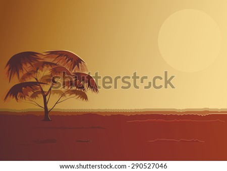 Vector illustration of tree in Africa - stock vector