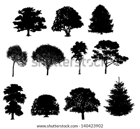 Vector illustration of tree silhouettes - stock vector