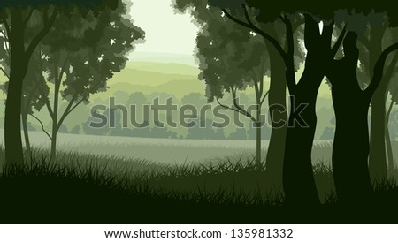 Vector illustration of tree trunks within wood with grass on edge of forest in green tone. - stock vector