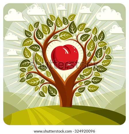 Vector illustration of tree with branches in the shape of heart with an apple inside, beautiful spring landscape. Love and motherhood idea image. - stock vector