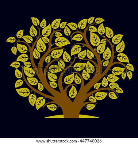 Vector illustration of tree with decorative leaves and branches in the shape of heart. Beautiful image on ecology theme. Love nature and environment conceptual illustration.  - stock vector