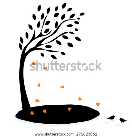 vector illustration of tree with heart - stock vector