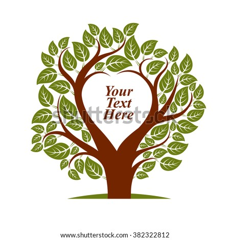 Vector illustration of tree with leaves and branches in the shape of heart with blank copy space. Your text here. - stock vector