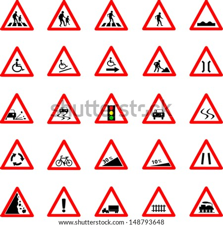 Vector illustration of triangle red and white road signs collection