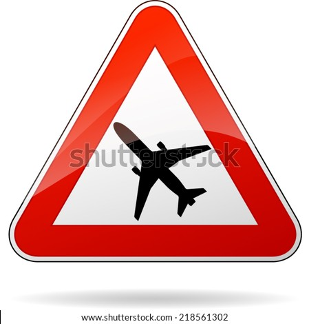 Vector illustration of triangle traffic sign for beware airplane - stock vector