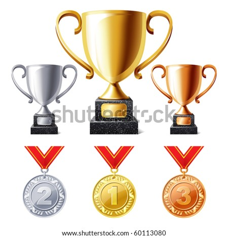 vector illustration of Trophy cups and medals - stock vector