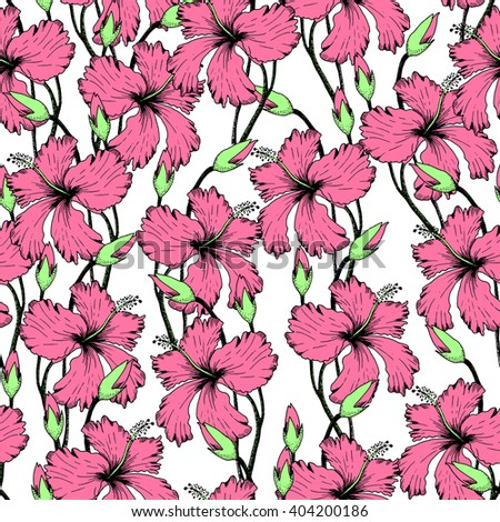 Vector Illustration of tropical Flowers Seamless PAttern in Sketch Style for Design, Flowers Sketch Background. Doodle Summer Pattern. Flower sketch Element. Flower Pattern Template. Beach Botany - stock vector