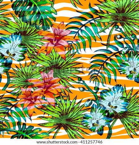 Vector Illustration of tropical Flowers Sketch Style for Design, Website, Seamless Pattern. Tropical Flowers Doodle Tropical flower  Element Template in tropical color. Tropical Flowers Beach Botany - stock vector