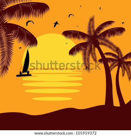 Vector illustration of tropical palm island in sunset - stock vector