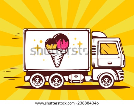 Vector illustration of truck free and fast delivering ice cream to customer on color background. Line art design for web, site, advertising, banner, poster, board and print. - stock vector