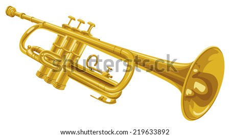 Vector illustration of trumpet. - stock vector