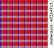 Vector illustration of tweed or tartan check fabric with seamless repeat pattern in blue and white on a cheerful red background - stock photo