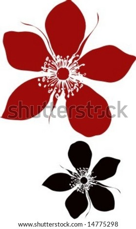 Vector Illustration of two abstract rose flower elements isolated on white background - stock vector