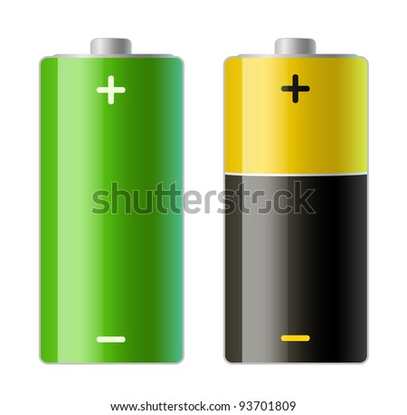 vector illustration of two batteries icons - stock vector