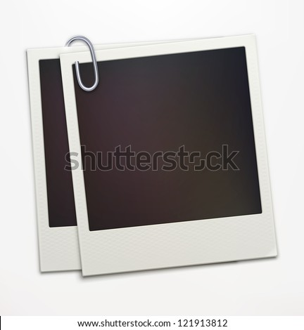 Vector illustration of two blank retro polaroid photo frames over soft background - stock vector