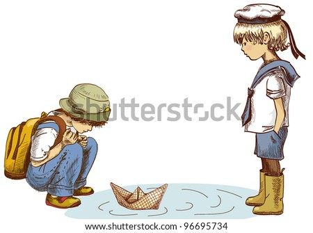 Vector illustration of two boys watching a paper boat - stock vector