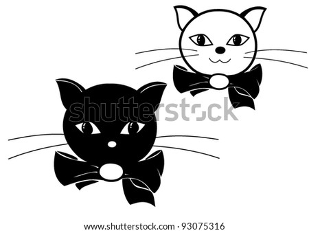 vector illustration of two cats black and white - stock vector