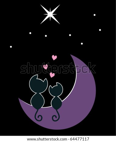 vector illustration of two cats in love sitting on the moon - stock vector