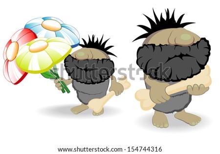 vector illustration of two cavemen - stock vector