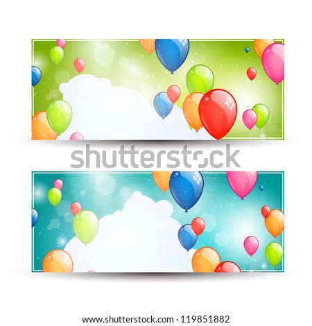 Vector Illustration of Two Colorful Banners with Balloons - stock vector