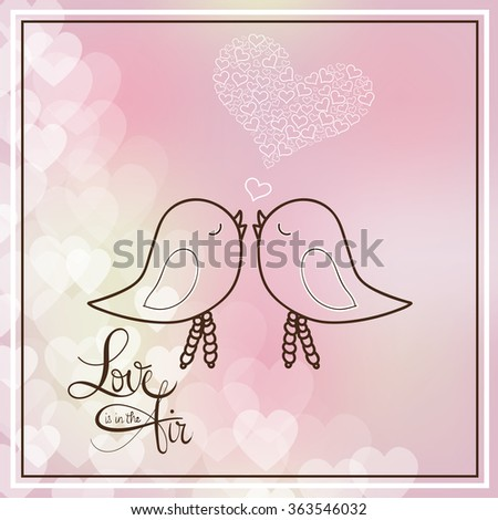 """Vector illustration of two cute birds in love on glossy hearts decorated background for Happy Valentine's Day celebration. Happy valentines day card. Beautiful lettering with """"Love is in the air"""".  - stock vector"""
