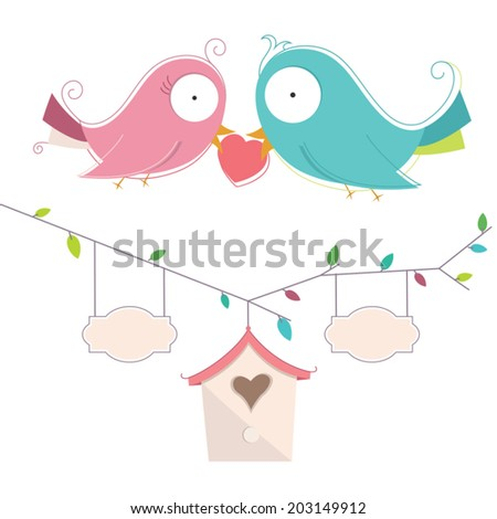 Vector Illustration Of Two Cute Birds In Love Wedding Card - stock vector