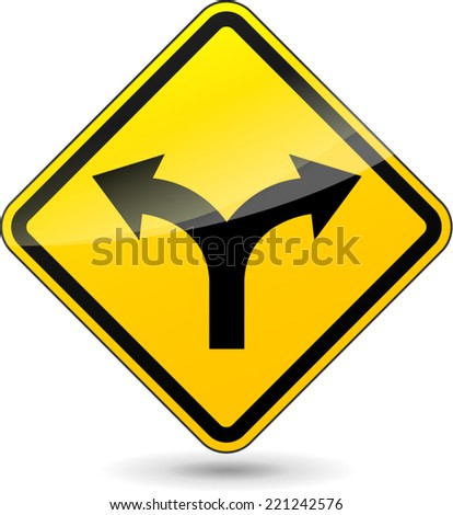 Vector illustration of two directions yellow sign on white background - stock vector