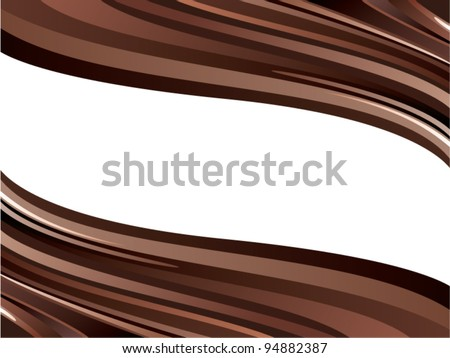 vector illustration of two glossy chocolate waves - stock vector
