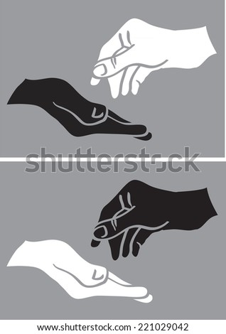 Vector illustration of two hands in black and white in giving and taking gestures isolated on grey background - stock vector