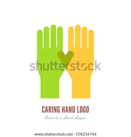 Vector illustration of two hands logo template. Help, care, assistant concept icon. - stock vector