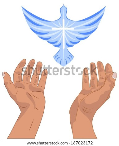 Vector illustration of two hands raised up in worship and praise, above the hands is a blue dove with a white cross. - stock vector