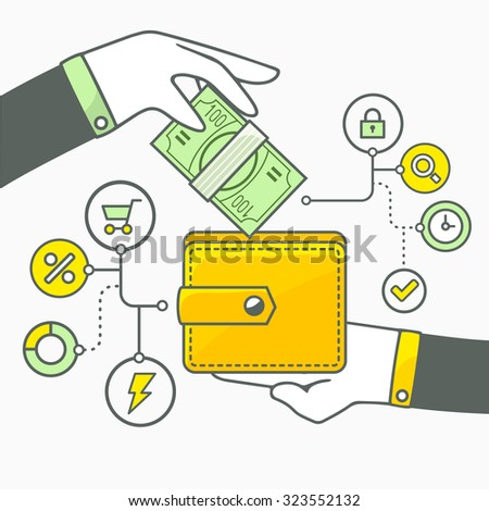 Vector illustration of two hands with money and wallet on light background. Green and yellow color. Hand draw line art design for web, site, advertising, banner, poster, board and print.  - stock vector